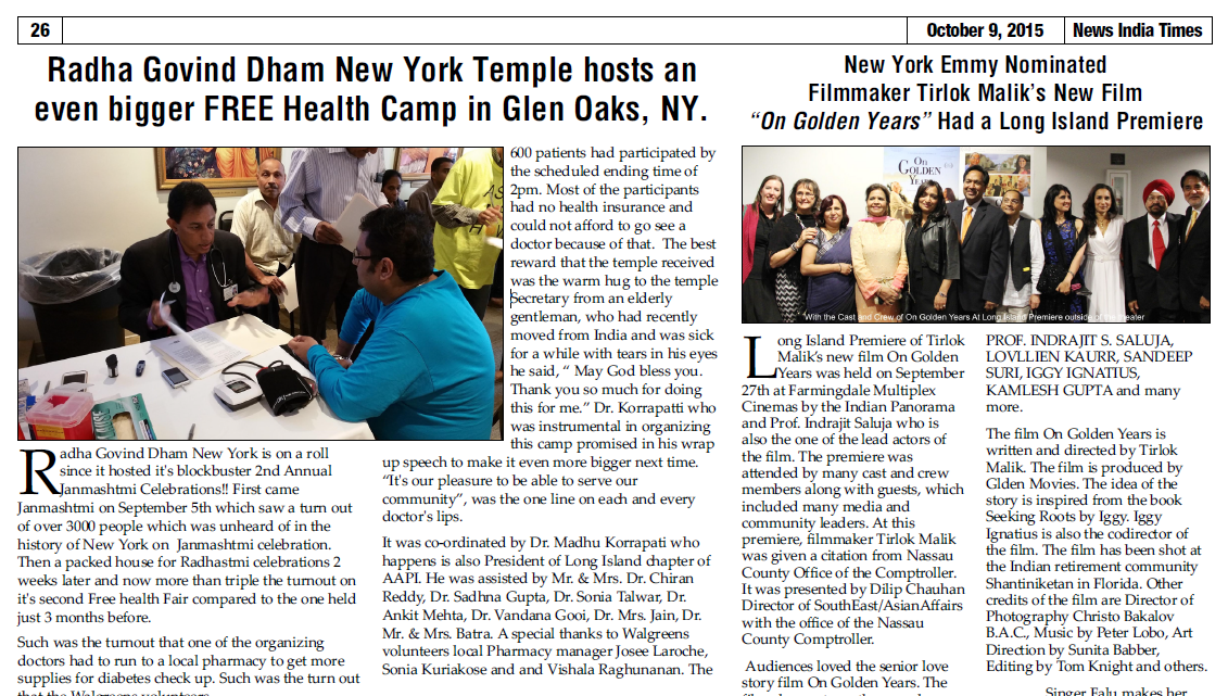 Health Camp in Glen Oaks Hindu Temple New York